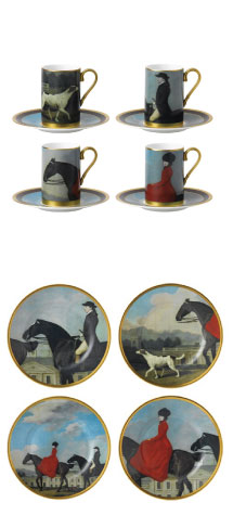 horse decor plates and cups