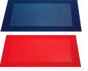 red and blue woven placemats